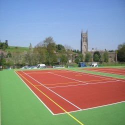 Line Marking Tennis Pitches in Abertrinant 1