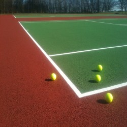 Line Marking Tennis Pitches in Abertrinant 4