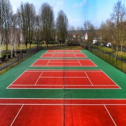 Line Marking Tennis Pitches in Ab Lench 4